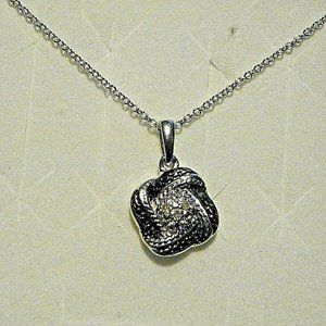 Jewelry - Black & White Diamond pendant in Plat/925 20 inch